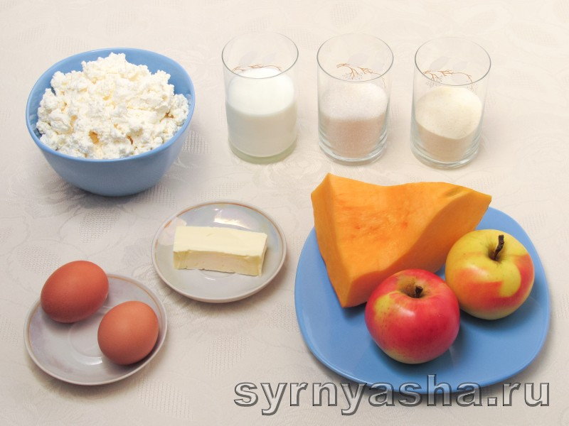 Творожная запеканка с тыквой и яблоками в мультиварке и духовке: фото 1
