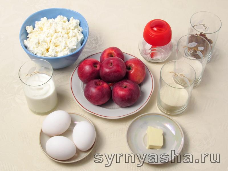 Творожная запеканка с яблоками в духовке с манкой и изюмом: фото 1